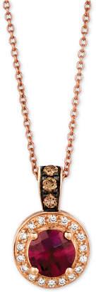 LeVian Le Vian Chocolatier® Raspberry Rhodalite® (3/4 ct. t.w.) & Diamond (1/6 ct. t.w.) Pendant Necklace in 14k Rose Gold