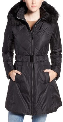 Women's Cece 'Hailey' Belted Down Coat With Removable Faux Fur Trim Hood $188 thestylecure.com