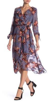 Luxology 3/4 Sleeve Floral Ruffle Wrap Dress