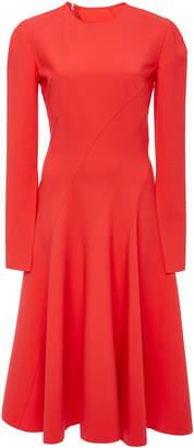 Oscar de la Renta Pleated Wool-Blend Cady Midi Dress