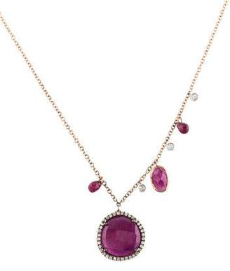 Meira T 14K Ruby & Diamond Pendant Necklace