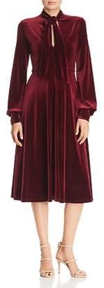 Black Halo Ruby Tie-Neck Velvet Dress