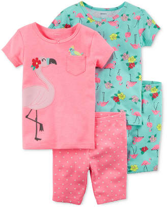 Carter's 4-Pc. Flamingos Cotton Pajama Set, Little Girls & Big Girls