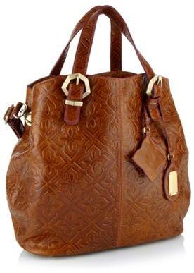 Designer Tan Tile Embossed Shopper Bag