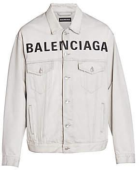 Balenciaga Men's Oversized Logo Denim Jacket