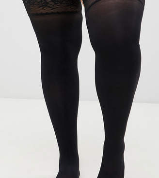 Asos DESIGN Curve 50 denier lace top hold ups