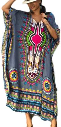 Bsubseach Women Loose Print Lace Up V Neck Swimsuit Swimwear Cover Up Beachwear Chiffon Kaftan Maxi Dress