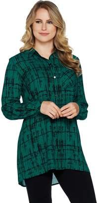 Susan Graver Printed Woven Button Front Long Sleeve Shirt