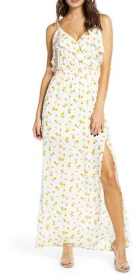 ALL IN FAVOR Floral Ruffle Side Slit Maxi Dress