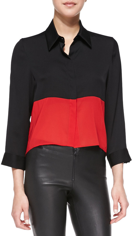 Alice + Olivia Cropped Colorblock Button-Down Blouse