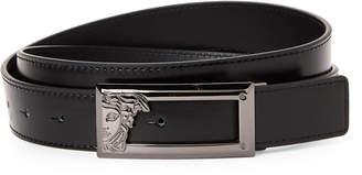 Versace Black Rectangle Medusa Leather Belt