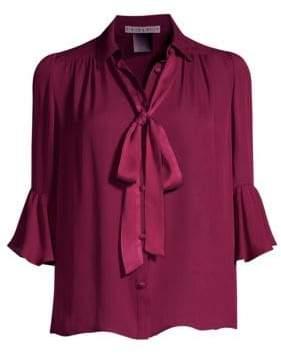 Alice + Olivia Maxima Tie-Neck Bell-Sleeve Chiffon Blouse