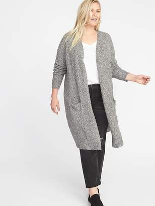 Old Navy Plus-Size Super-Long Open-Front Marled Sweater