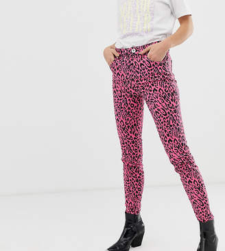 See You Never leopard print high waist skinny jeans with raw hem