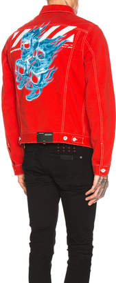 Off-White Off White Slim Denim Jacket in Red | FWRD