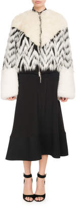 Givenchy Mohair Oversized Zip-Front Faux-Fur Bomber Coat