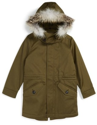 Burberry Rupert Hooded Sateen Parka with Genuine Fox Fur Trim (Little Boys & Big Boys) $575 thestylecure.com