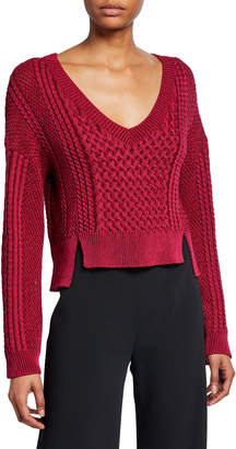 Jonathan Simkhai Cable-Knit V-Neck Cropped Sweater