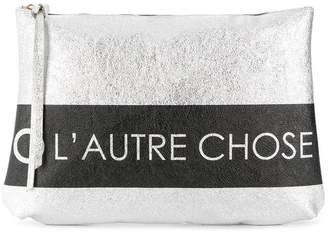 L'Autre Chose logo print clutch bag