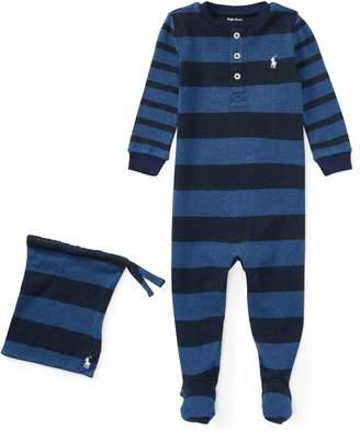 Ralph Lauren Striped Cotton Sleep Coverall
