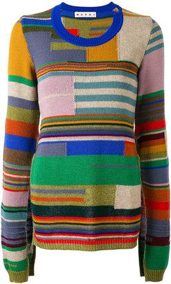 block stripe cape sleeve sweater