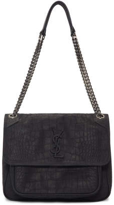 Saint Laurent Black Medium Crocodile Suede Niki Bag