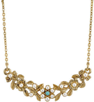 "Downton Abbey Gold-Tone Simulated Pearl and Imitation Turquoise Necklace 16"" Adjustable"