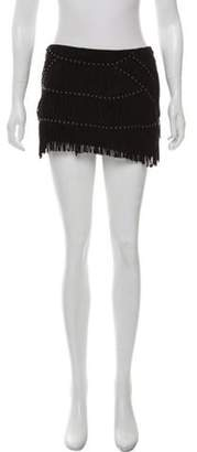 Haute Hippie Fringe-Trimmed Suede Skirt Black Fringe-Trimmed Suede Skirt