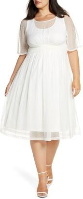 Kiyonna Stars Tea Length Mesh Dress