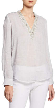 120% Lino Embellished V-Neck Long-Sleeve Tunic