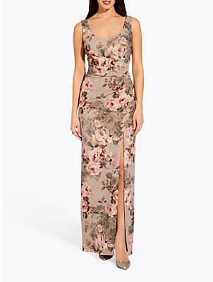 Adrianna Papell Matelasse Floral Maxi Dress, Slate/Blush Multi