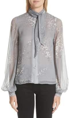 Co Floral Print Tie Neck Crinkle Chiffon Blouse