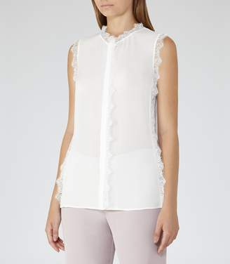 Reiss Jean Lace-Trim Sleeveless Blouse