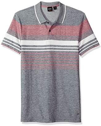 HUGO BOSS BOSS Orange Men's Cotton Linen Multi Color Melange Stripe Polo