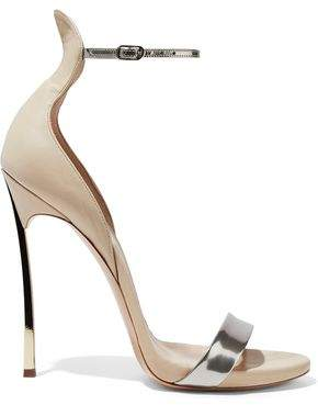 Casadei Techno Blade Matte And Metallic Leather Sandals