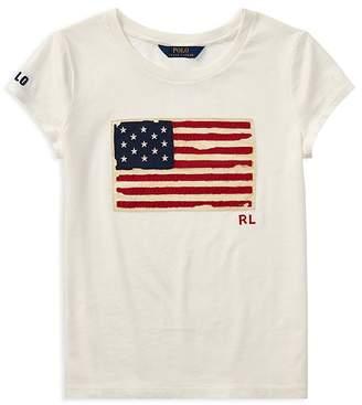 Polo Ralph Lauren Girls' Distressed Flag Tee - Big Kid