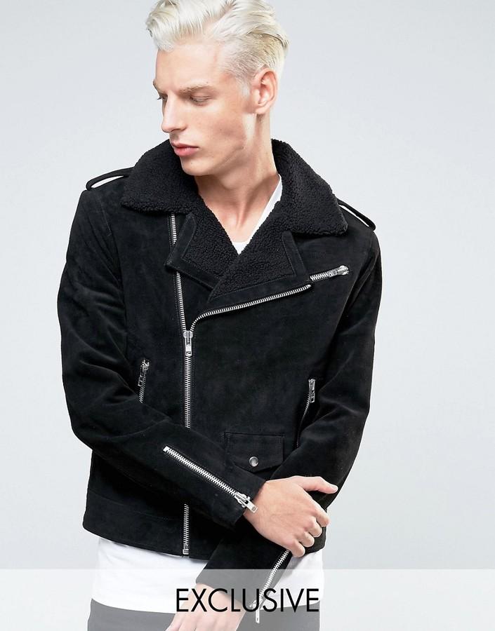 Black Dust Leather Biker Jacket With Fleece Collar