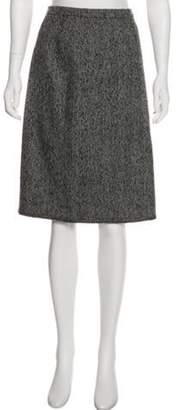 Oscar de la Renta Wool Knee-Length Skirt Grey Wool Knee-Length Skirt