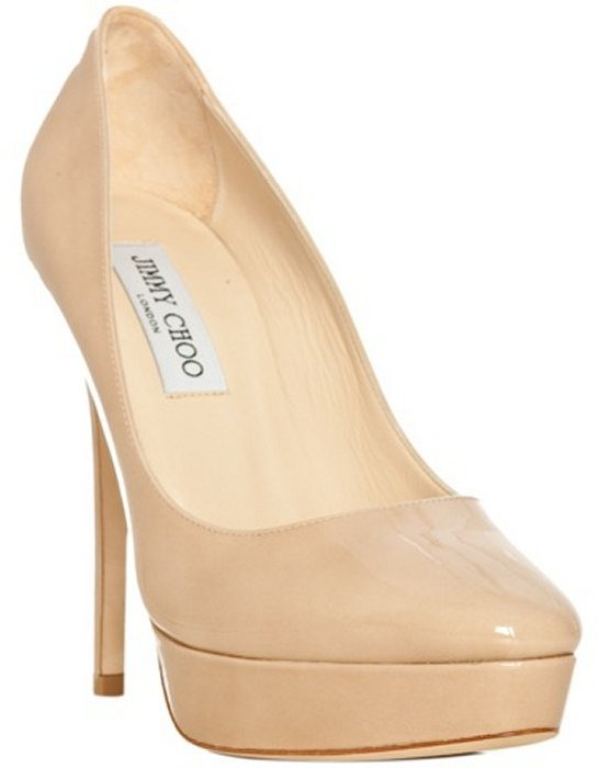 Jimmy Choo nude patent leather 'Cosmic' platform pumps