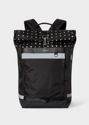 Paul Smith Men's Black Reflective Polka Dot Cycling Backpack