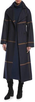 Loro Piana Double-Breasted Windowpane Check Wool Maxi Coat