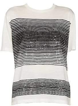 Saint Laurent Women's Sequin Stripe Jersey T-Shirt