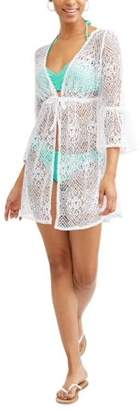 Time and Tru Women's Tie-Front Crochet Tunic Swim Cover-Up