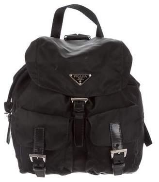 Prada Mini Leather-Trimmed Vela Backpack