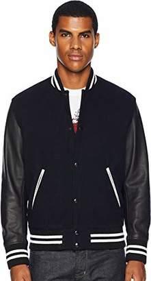 The Kooples Men's Men's Varsity Bomber Jacket Leather Sleeves
