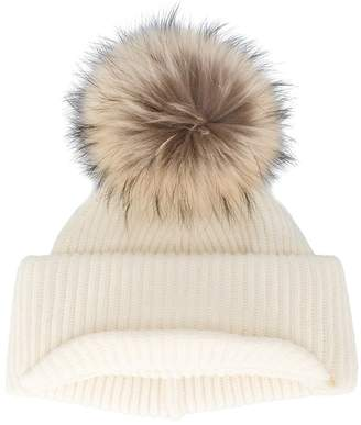 Inverni Neutral Ribbed Cashmere Hat with Visor and Fur Pom Pom