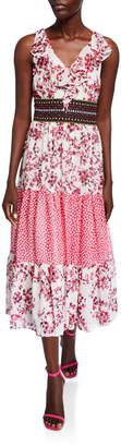 Taylor Printed Ruffle Chiffon Maxi Dress