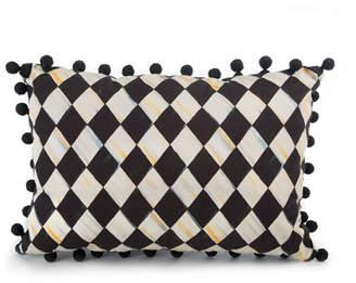 Mackenzie Childs MacKenzie-Childs Courtly Harlequin Pompom Lumbar Pillow - Black