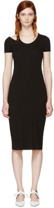 Helmut Lang Black Cap Sleeve Rib T-Shirt Dress $265 thestylecure.com
