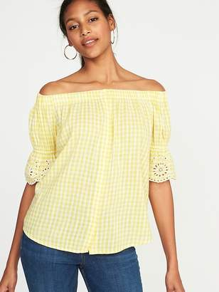 Old Navy Off-the-Shoulder Button-Front Gingham Swing Top for Women